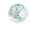 Glass Lamp Bead Round 12mm Crystal/Aqua